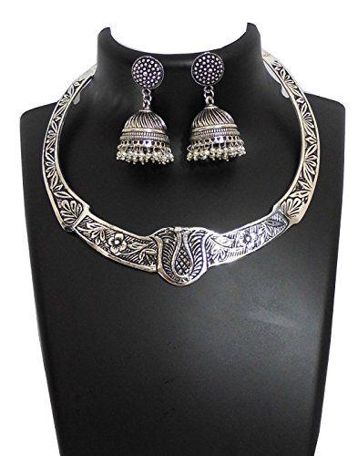 Threaded German Silverr Hansuli and Jhumka Set- Pattern 1