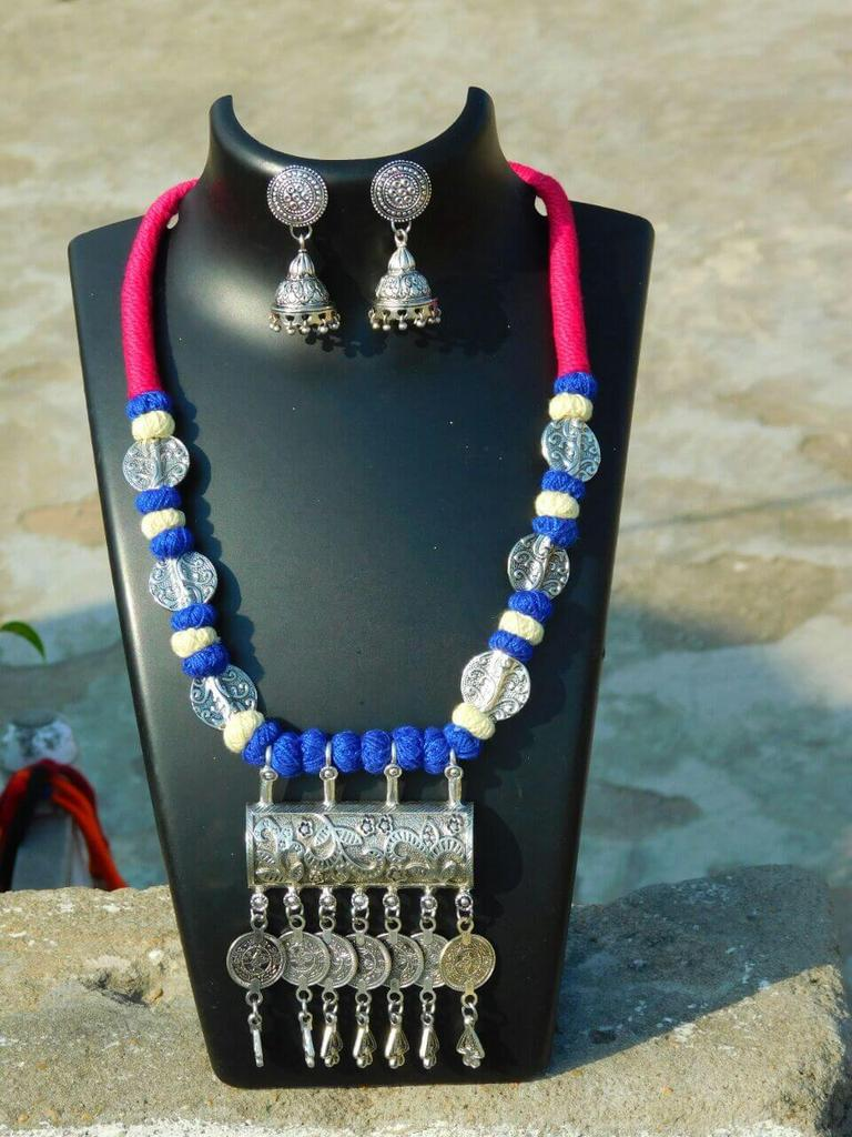 Threaded German Silver Necklace Set with Jhumkas- Pink&Blue