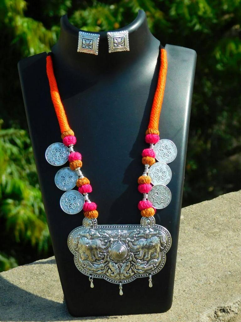 Threaded German Silver Necklace Set with Studs- Orange&Pink