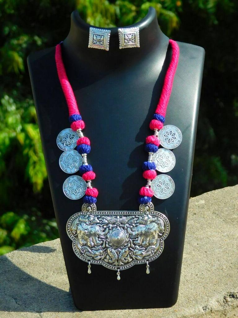 Threaded German Silver Necklace Set with Studs- Blue&Pink