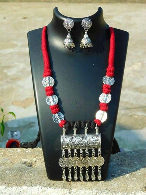 Threaded German Silver Necklace Set with Jhumkas- Red&Black