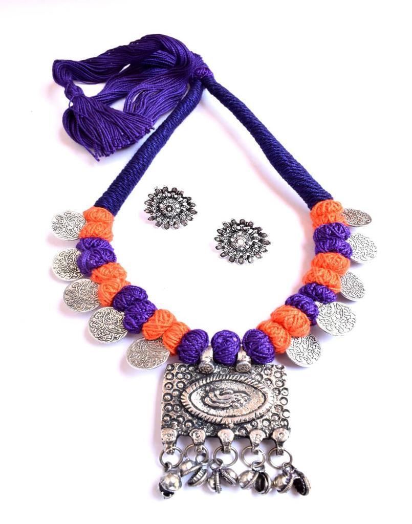 Threaded German Silver Necklace Set with Studs- Blue&Orange