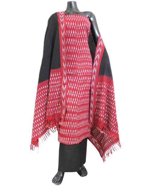 Handloom Cotton Ikat Salwar Suit- Maroon&Black