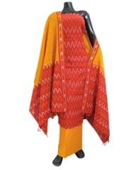 Handloom Cotton Ikat Salwar Suit- Red&Mustard