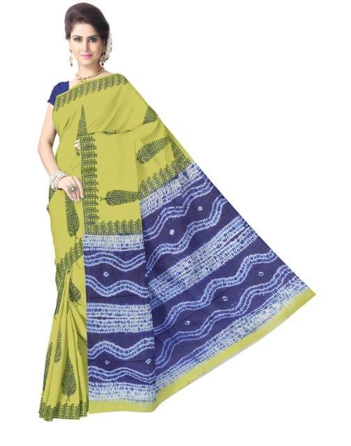 Cotton Bagru Print & Shibori Saree- Blue&Yellow