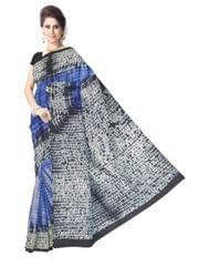 Cotton Shibori Saree- Black&Blue