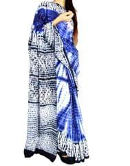 Cotton Shibori Saree- Black&Blue