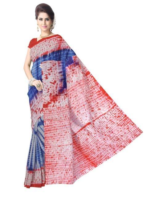 Cotton Shibori Saree- Red&Blue