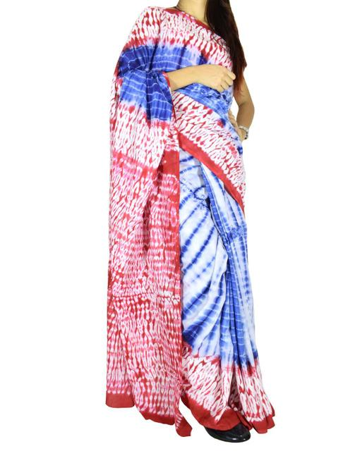 Cotton Shibori Saree- Red&Blue