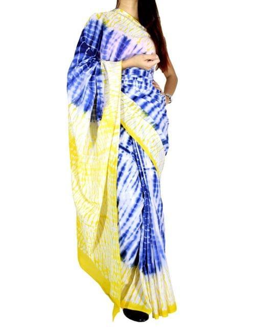 Cotton Shibori Saree-Yellow&Blue