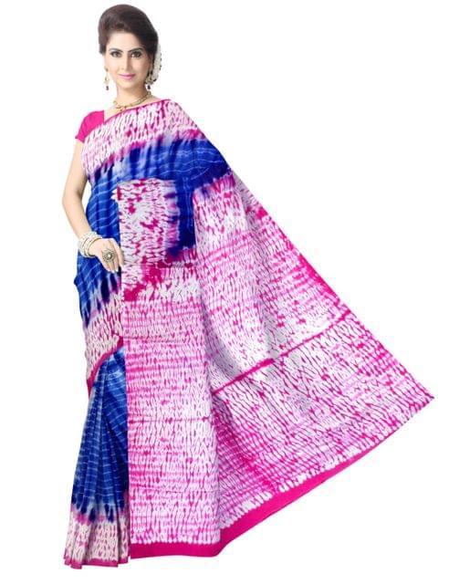 Cotton Shibori Saree-Pink&Blue 1
