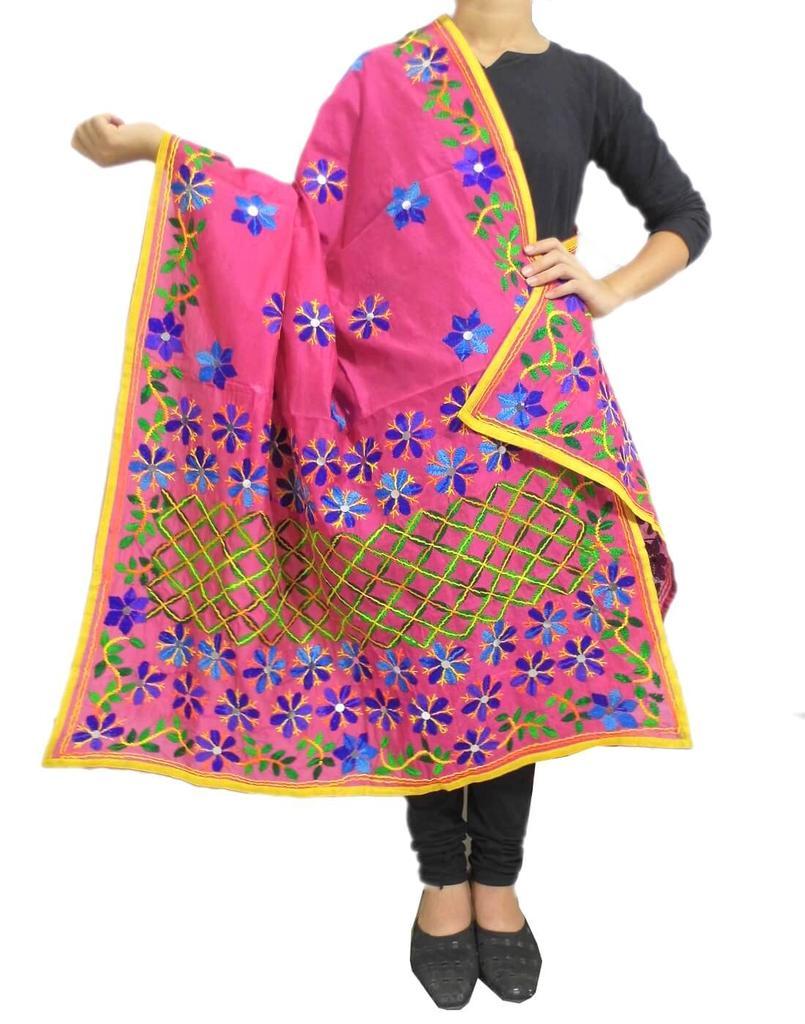 Chanderi Hand Embroidered Dupatta-Pink 1
