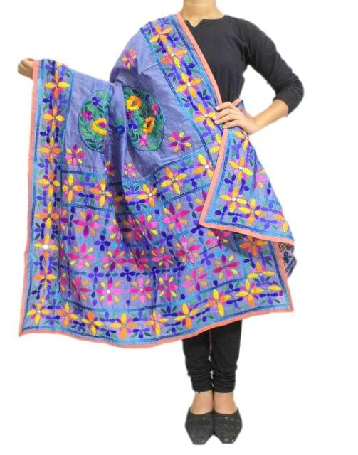 Chanderi Hand Embroidered Dupatta-Light Blue