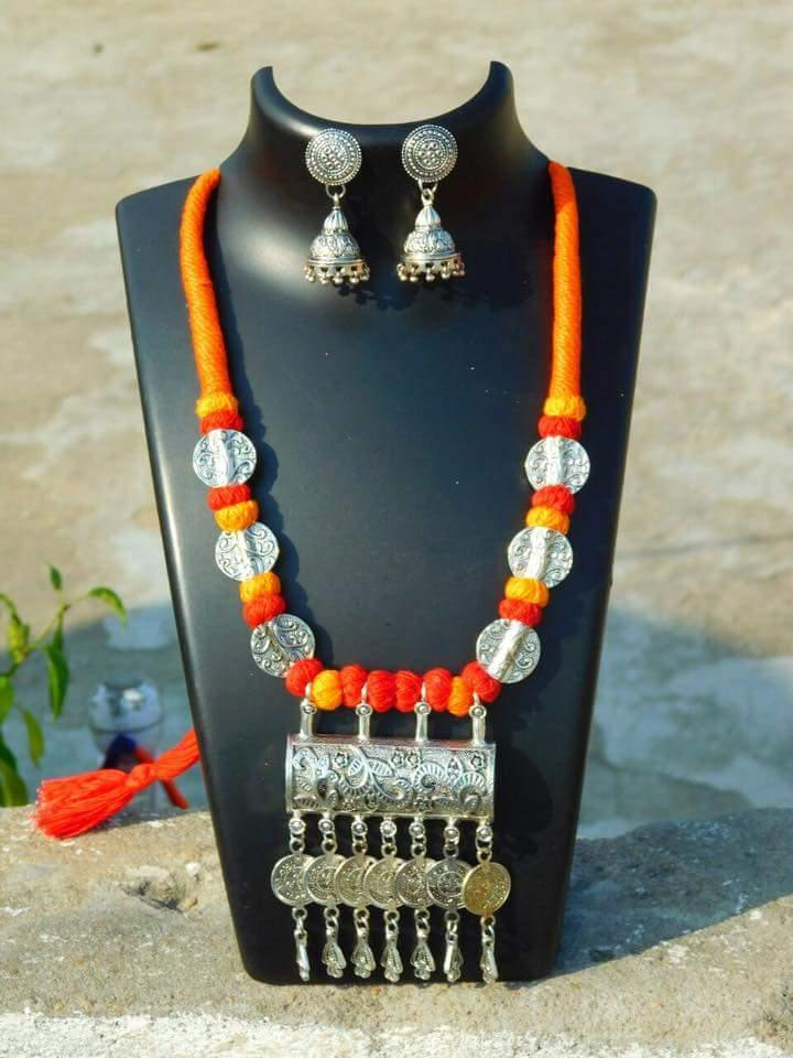 Threaded German Silver Necklace Set with Jhumkas- Orange&Yellow