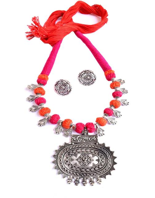 Threaded German Silver Necklace Set with Sun Pendant & Studs- Orange&Pink