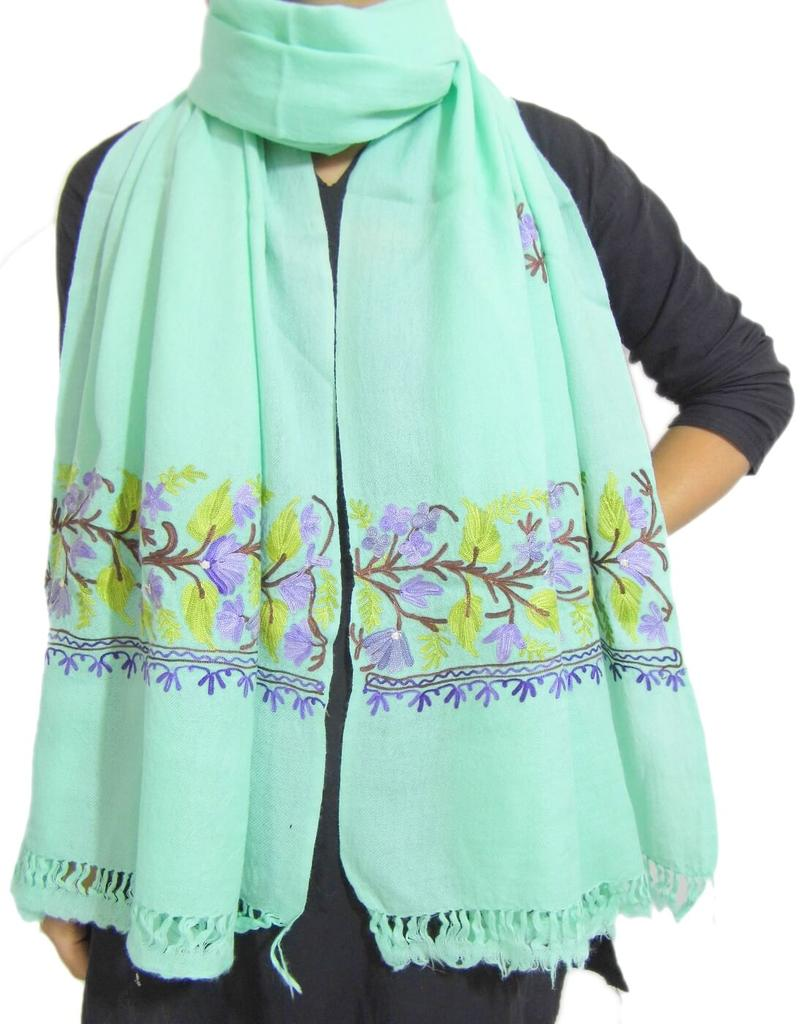 Kashmiri Embroidery Stole on Pure Wool - Sea Green