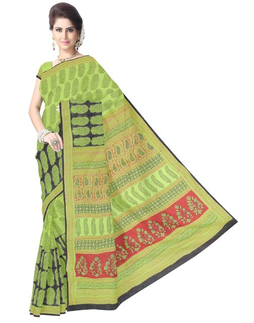 Bagh Print Cotton Saree-Black&Green
