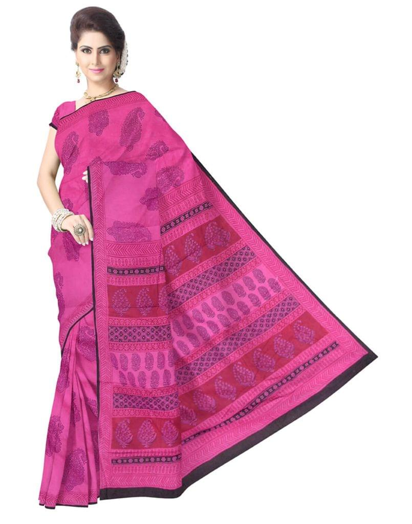 Bagh Print Cotton Saree-Dark Pink