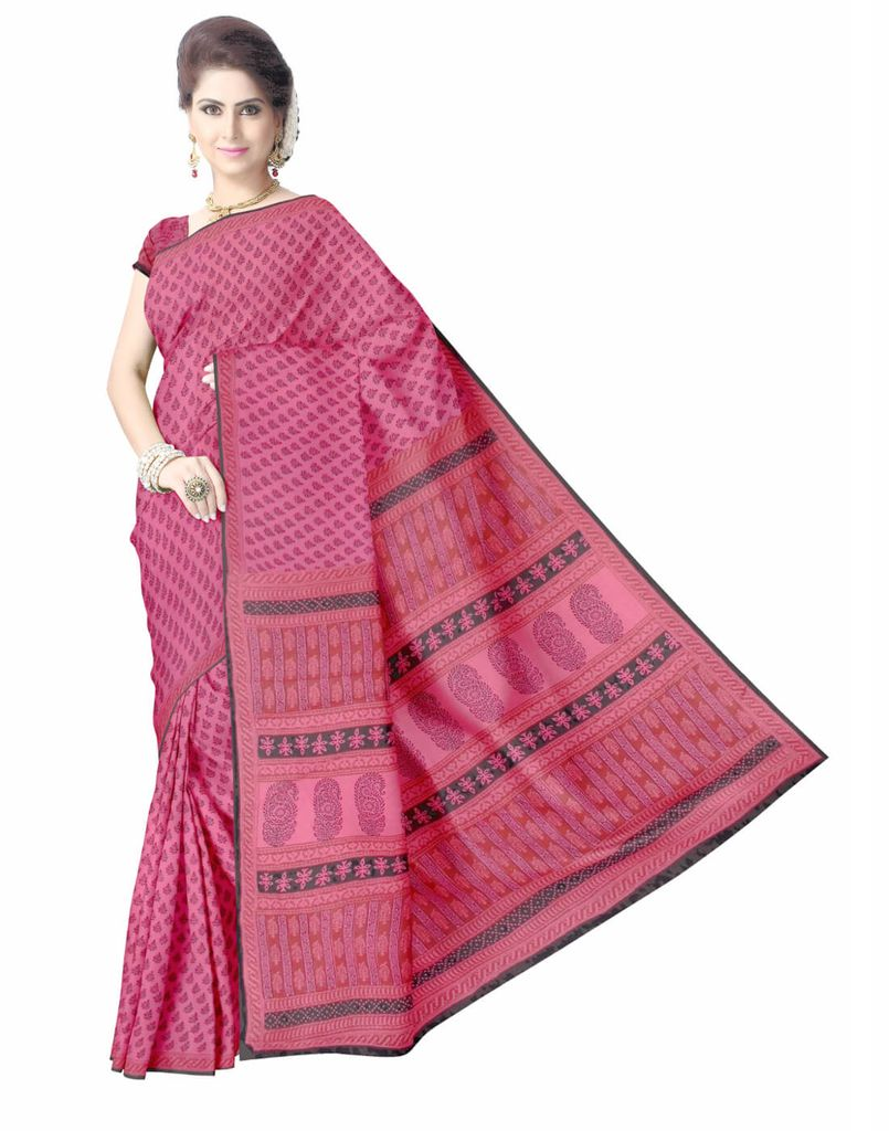 Bagh Print Cotton Saree-Dark Pink 1