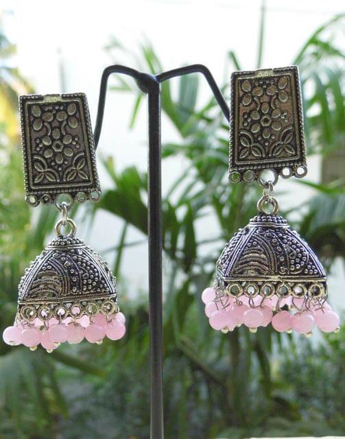 German Silver Jhumkas/Jhumkis-Light Pink Beads