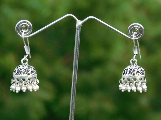 Oxidized Metal Jhumkas/Jhumkis- Silver Beads