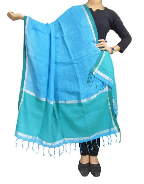 Handloom Pure Linen Dupatta- Blue