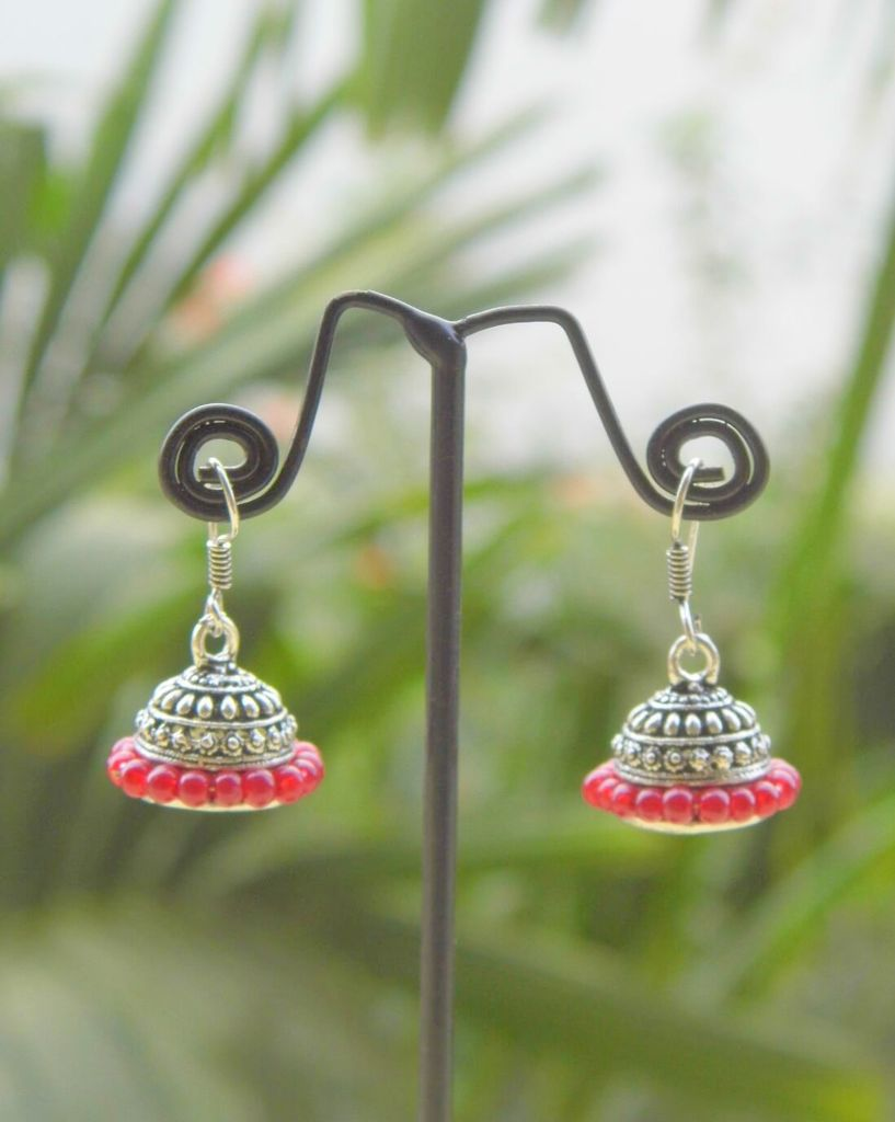 Oxidized Metal Jhumkas/Jhumkis- Red Beads 1