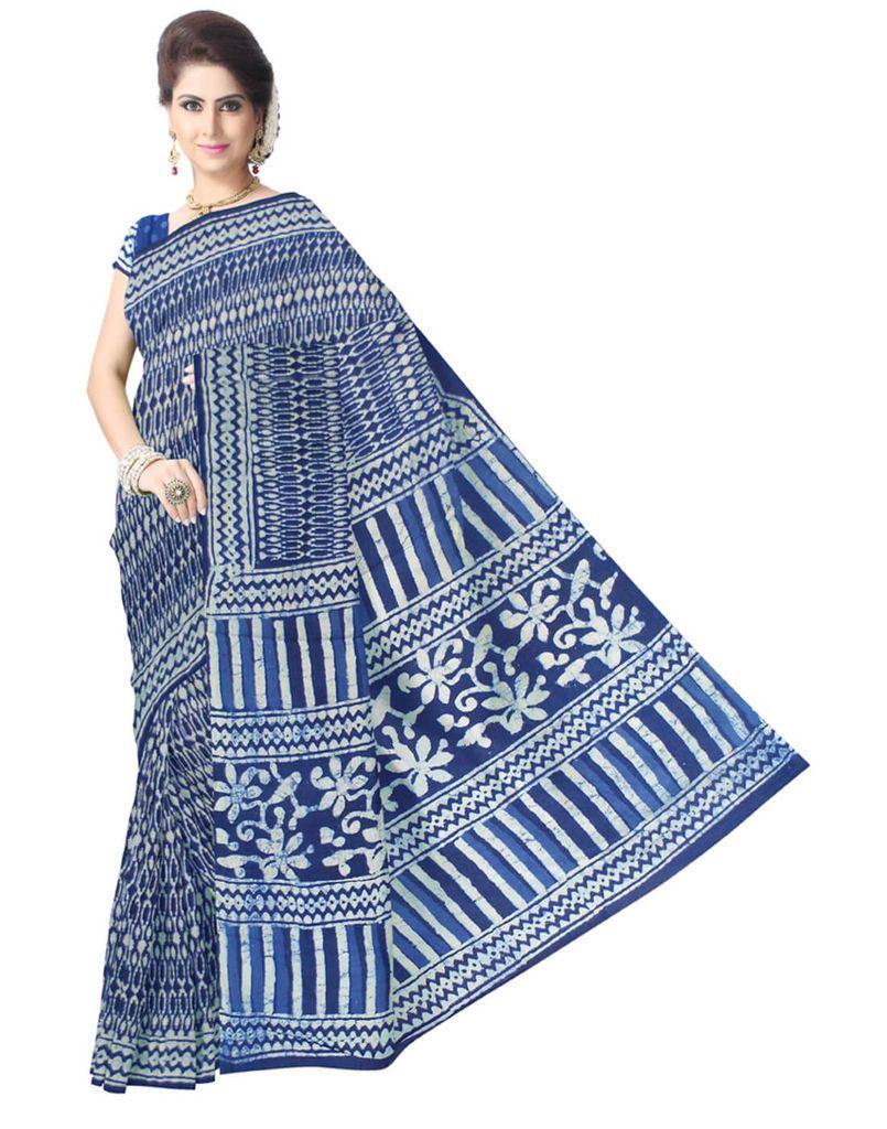 Dabu Print Cotton Saree-Indigo Blue