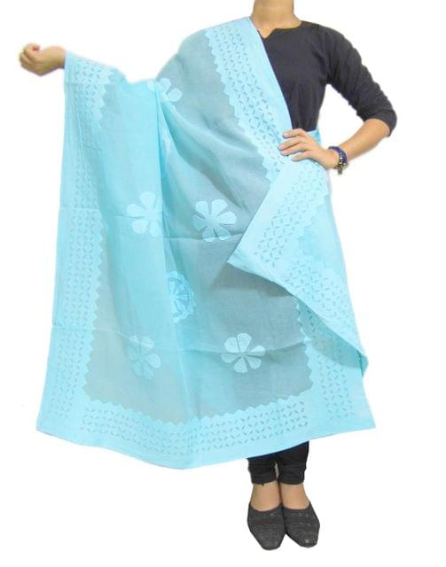 Cotton Cutwork Dupatta- Sky Blue