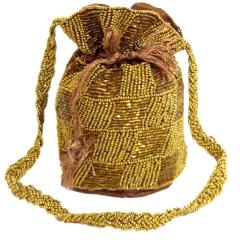 Round Potli/Batwa with Drawstring- Copper&Gold
