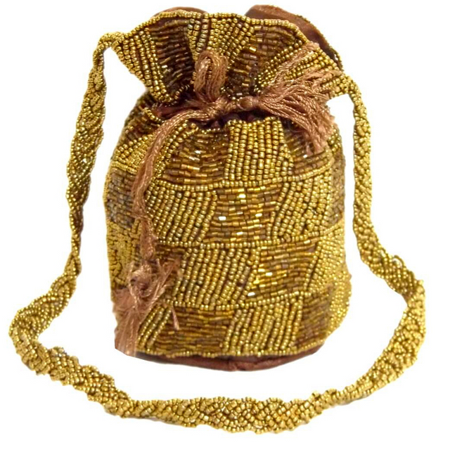 Round Potli/Batwa with Drawstring- Copper&Gold