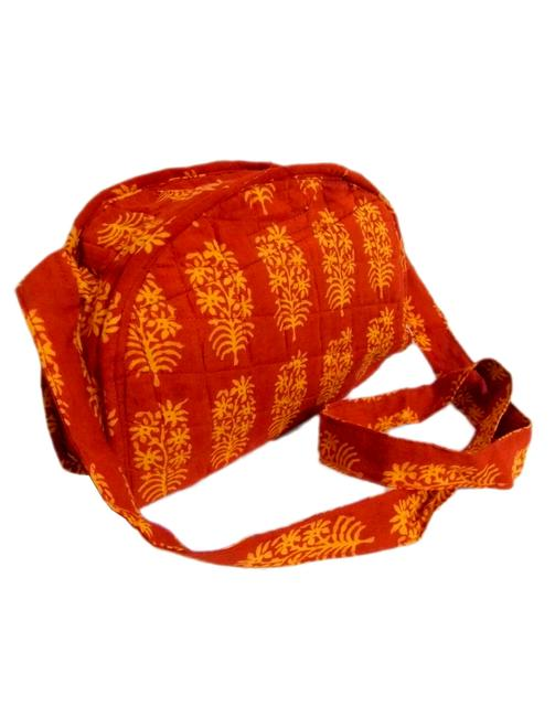 Bagh Print Cloth Purse- Red&Yellow