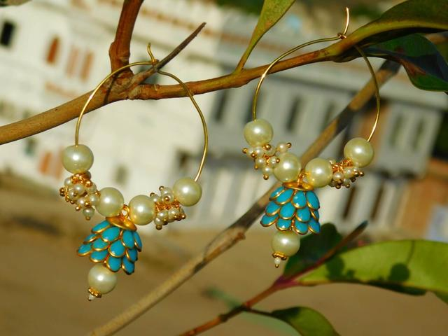 Pachi Hoop Earrings- Turqoise