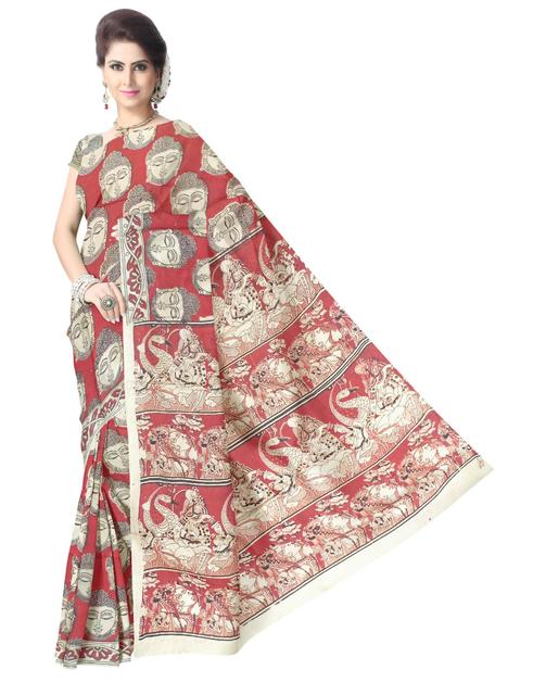 Kalamkari Saree in Silk -Red&White 1