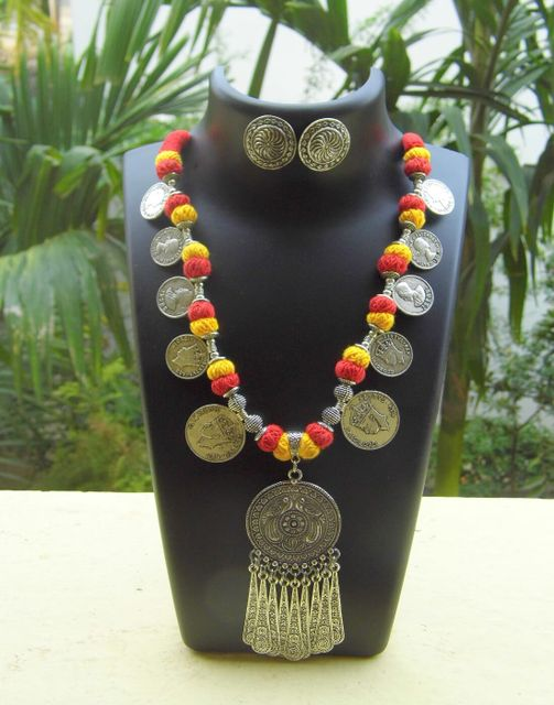 Threaded German Silver Necklace Set with Tasseled Round Pendant- Red&Yellow