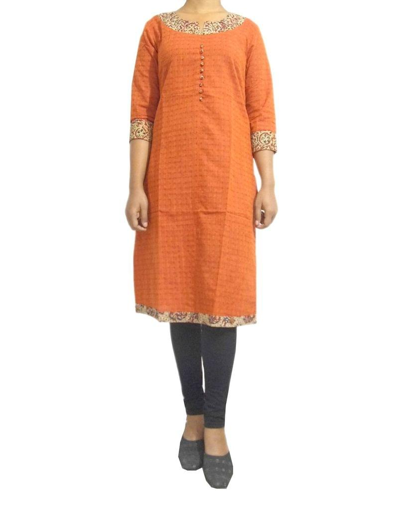 Stitched Cotton Kalamkari Kurta- Rust