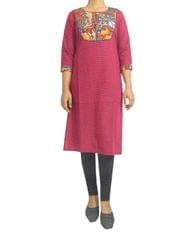 Stitched Cotton Kalamkari Kurta- Wine Color