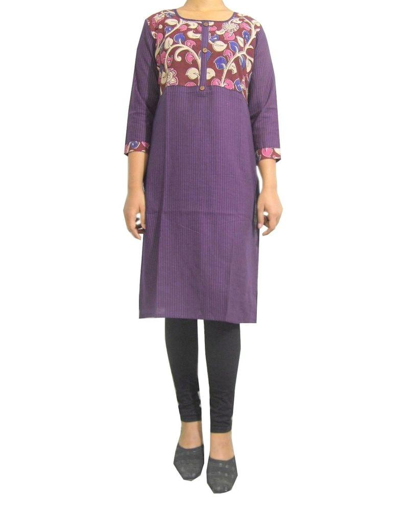 Stitched Cotton Kalamkari Kurta- Purple