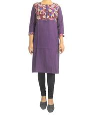 Stitched Cotton Kalamkari Kurta- Purple