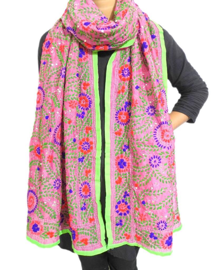 Chanderi Cotton Silk Phulkari Stole -Hot Pink