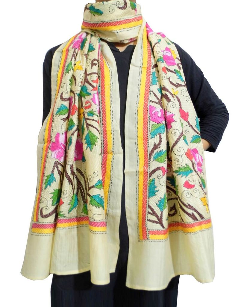 Nakshi Kantha Stole on Tussar Silk- Pattern 6