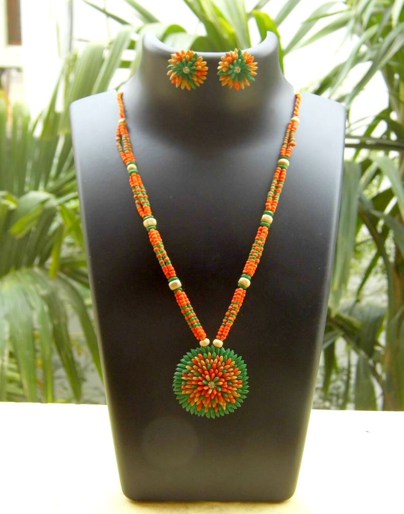 Paddy Grain Necklace Set- Red&Green