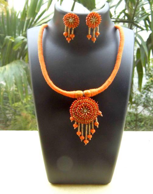 Paddy Grain Hansuli Set- Orange