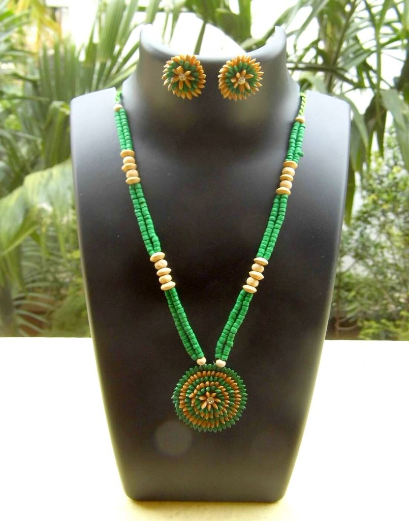 Paddy Grain Necklace Set- Green&Beige