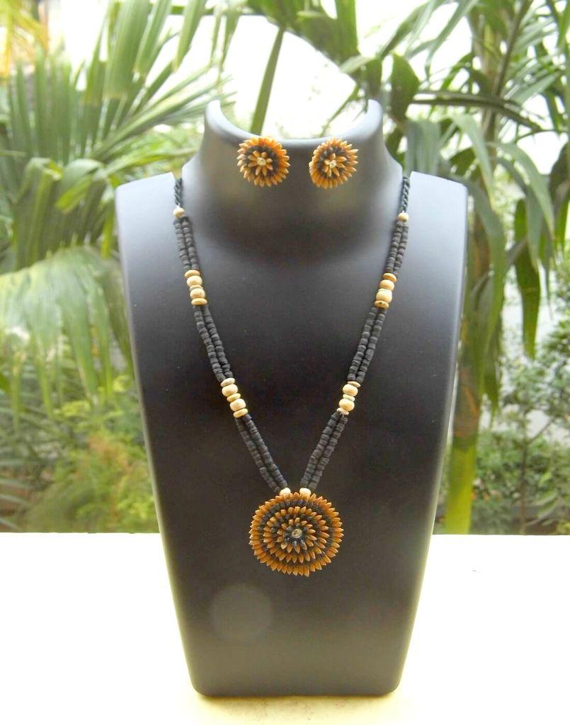 Paddy Grain Necklace Set- Black&Beige