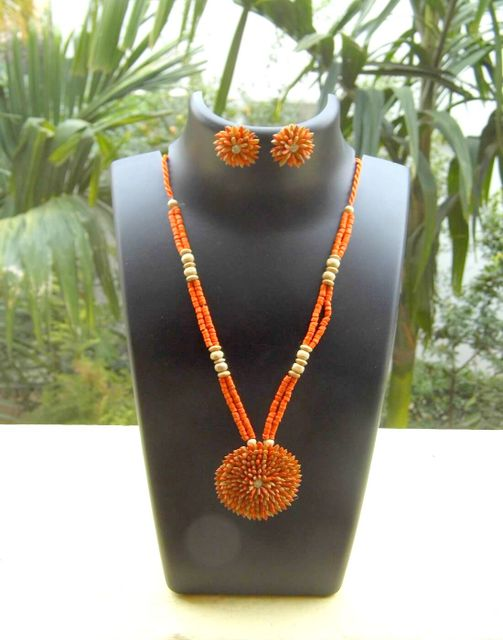 Paddy Grain Necklace Set- Orange&Beige