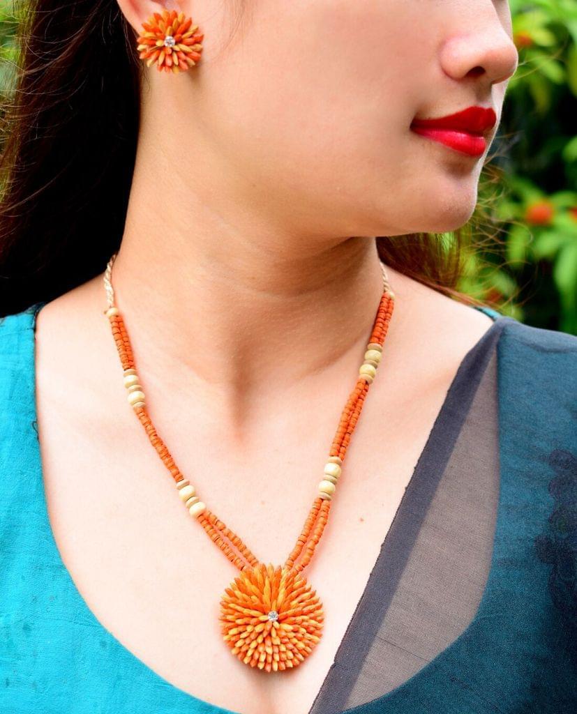 Paddy Grain Necklace Set- Orange&Beige