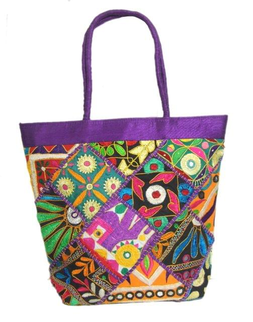 Handmade KutchWork Vintage Handbag in Silk-Purple 2
