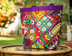 Handmade KutchWork Vintage Handbag in Silk-Purple 5