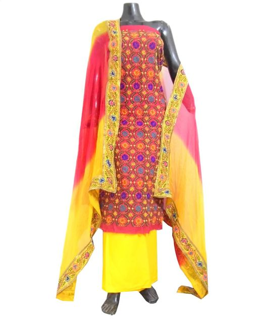 Handembroidered Salwar Suit with Champa Jaal-Pink&Yellow